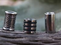 Set of 3 Stainless Steel Dreadlock Beads 6mm Hole (1/4 Inch)  Dread Viking Beard