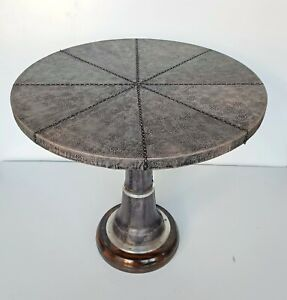 Antique Home Dining Restaurant Round Coffee Table Leather Stitched Decorative