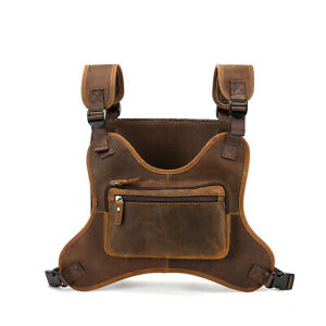Men Vintage Real Leather Two Straps Chest Rig Bags Rectangle Streetwear Hip-Hop