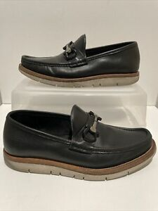 SALVATORE FERRAGAMO HORSEBIT BLACK LEATHER LOAFERS..SIZE 7.5 D Made In ITALY