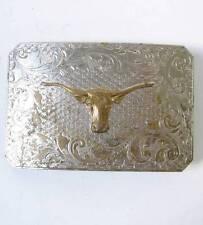 Vintage Justin Belt Co Longhorn Steer Bull Head Buckle Western Silver Tone