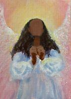 ACEO Original African American Angel Painting Spiritual Inspirational CCArtist