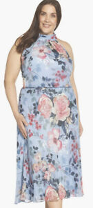 ADRIANNA PAPELL PLUS SIZE DRESS/SIZE 22W/BLUE/NEW WITH TGA/RETAIL$159