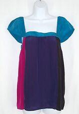 Hurley Color Block Sleeveless Babydoll Top sz L Silk Pink Purple Black Teal