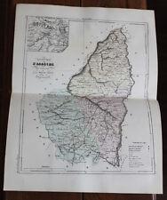 1850 Carte Géographique Atlas époque couleur Département 07 Ardèche Privas