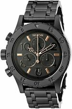 NWT Nixon 38-20 A404957 Black Case & Black Bracelet With Rose Gold Accented Dial