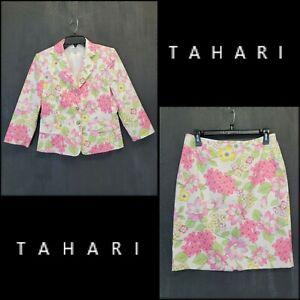 Tahari Women Career Formal Floral Blazer Suit & Skirt Size 8P