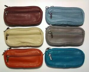 Leather Double Eyeglass Case - Removable Wrist Strap - Belt Loops - Color Choice