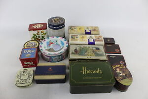 20 x Assorted Vintage ADVERTISING TINS Inc Decorative, OXO, Royal, Players Etc
