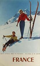 GRANDE vero vintage TRAVEL poster-Pirenei, FRANCIA-SPORT INVERNALI-SKI-RARO