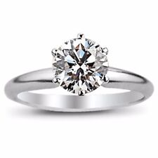 Diamond Engagement Ring Solitaire 14k White Gold Round Cut  1.68 Carat GVS2