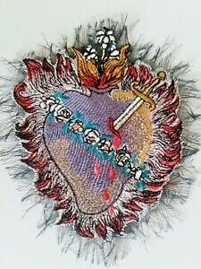 Sacred Heart Milagro Big Handmade Sew-On Embroidered Patch