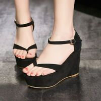 Womens Wedge High Heels Platform Clip Toe Sandals Thong Buckle Ankle Strap Shoes