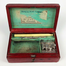 Antique Georgian Travel Writing Set Silver Inkwell Bramah Dip Pen Necessaire Box