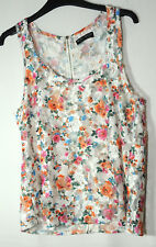 WHITE ORANGE BLUE PINK FLORAL LACE ARTY TOP BLOUSE SELECT SIZE 6 STRETCH