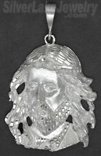 Sterling Silver Diamond-cut Big Jesus Christ Face Charm Pendant
