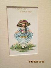Fabulous Unframed But Nicely Matted Easter Card Dated Post Marked 1915 Exc Cond