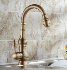 Antique Brass Single Levers Kitchen Sink Swivel Spout Mixer Tap Faucet 8sf080