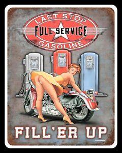 LAST STOP GARAGE PIN UP GIRL MOTORBIKE MOTORCYCLE METAL PLAQUE TIN WALL SIGN 438
