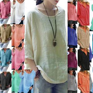 Plus Size Women Plain Cotton Linen Tops Lady Loose Casual Tunic Blouse T-Shirt