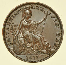 More details for 1822 george iv farthing, leaf ribs raised, british coin au