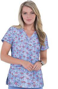 "Betsey Johnson Scrubs #114 V-Neck Print Scrub Top in ""Tropical Flamingo"" Size S"