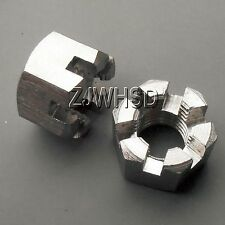 2pcs M18 x 2.5 mm Connecting Rod Wheel Axle Hub Slotted Castle Nut Stainless