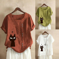 Plus Size Women Summer Short Sleeve Cotton Linen Cat Print Blouse Tops T-Shirt S