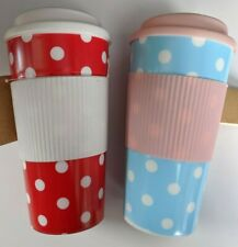 2 x Coffee Tea Travel Mug To Keep - Cup Reusable - 2 Cups