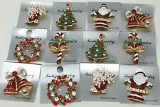 12pcs Brooch Pin Vintage Rhinestone Christmas for Christmas wholesale Lot.