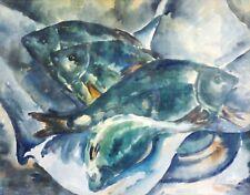 Illisible signé-Top-aquarelle: Petit poisson-Swarm, éventuellement rotfedern