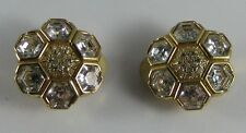 Rare Swarovski Swan Signed Crystal Flower Gold Stud Clip Earrings