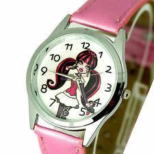NEW MONSTER HIGH DOLLS PINK LEATHER FILM MOVIE GIRL FAIRY TALE STEEL WATCH UK W2
