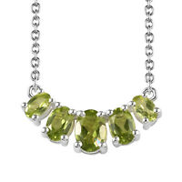 """Peridot 925 Sterling Silver 5 Stone Bar Chain Necklace Gift For Women 18"""" Ct 2.4"""
