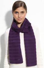 NWT!  $180 Sonia Rykiel Bow Scarf in Purple Flower with stripe design 100% Wool
