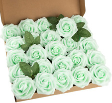 Aqua Green Artificial Flower Foam Rose Real Touch Roses Flower Heads with Stem 2