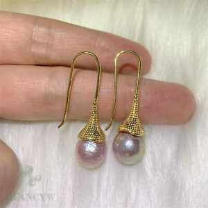 Fashion natural Purple Baroque round Pearl Gold Earrings gift Cultured Fashion