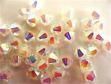 24 Clear Crystal AB2X Swarovski Crystal Beads Bicone 5328 4mm