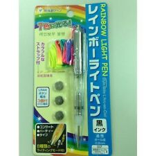 Rainbow Light Pen Ballpoint Pen with Colorful Strap Black Ink Daiso Japan NEW