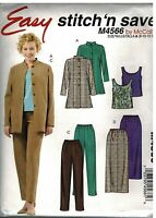 4566 UNCUT McCalls Sewing Pattern Misses Shirt jacket Tank Top Skirt Pants OOP