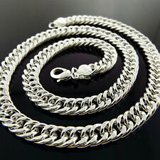 Necklace Chain Real 925 Sterling Silver S/F Solid Mens Heavy Curb Link Design