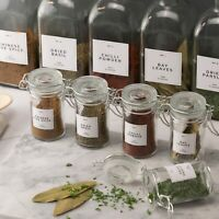 Herbs & Spices Jar Labels Kitchen Pantry Storage Labels Minimalist Black & White