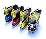 Set of 4 Compatible Brother LC-227XLVALBP High Yield Black Cyan Magenta & Yel...