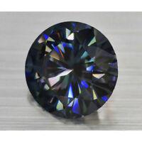 Round Cut 1.66 ct 7.90 mm Genuine Loose Moissanite Black Blue VVS2 GBP