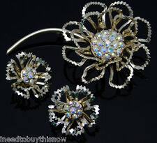 Vintage Sarah Coventry Floral Brooch & Earrings ALLUSION 1968 AB Rhinestone Set