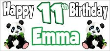 Panda 11th Birthday Banner x 2 - Party Decorations - Personalised ANY NAME