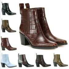 Women Alligator Leather Block Heels Square Toe Ankle Chelsea Boots Western-Style