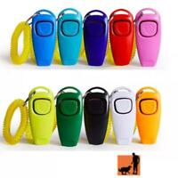 Dog Clicker Whistle Puppy Trainer Training Teaching Obedience AgilityKeyring 2n1