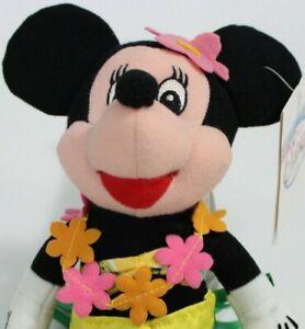 Disney Store Minnie Mouse Hawaiian Hula Plush bean bag stuffed w/tag Tiki EUC
