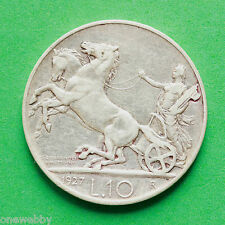 1927 ITALIA ARGENTO 10 LIRA BORDO LEGENDA ** FRET ** SNo38176